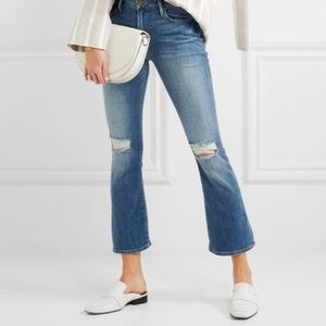 FRAME le mini crop boot distressed. Mid rise jeans